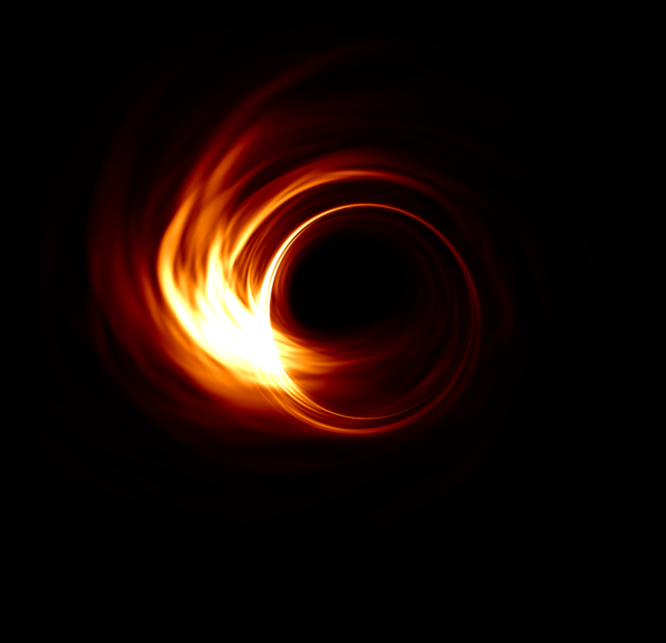 A simulation of what the team hope to see: the event horizon around the supermassive black hole in the centre of our galaxy. [Image: Hotaka Shiokawa, eventhorizontelescope.org]