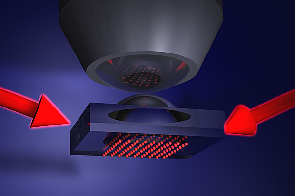 An illustration of a quantum gas microscope setup – the atoms (red dots) are in a 2D plane with the lens above them.