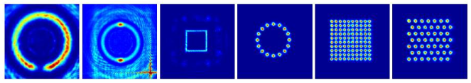 Example patterns of light that can be made using a Spatial Light Modulator (SLM) device, developed by my colleagues at the University of St Andrews. Atoms are drawn to the bright spots, so by making these patterns with light, we can place the atoms in any arrangement we wish.