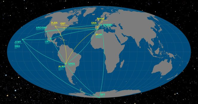 A map of the radio telescopes currently being used to form the EHT. The team hope to extend this network further – perhaps even into space! [Image: ESO/O. Furtak ]